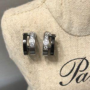 Stainless steel Small double hoop earrings
